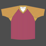 Baseball shirt V neck 4 colored stripes
